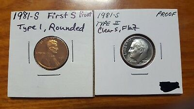 1981 S PR Type 1 2 First Rounded Clear Flat Lincoln Memorial Cent Roosevelt Dime