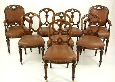 8 Dining Room Chairs (6+2), Antique Chairs, Victorian Gothic Chairs, , B1449