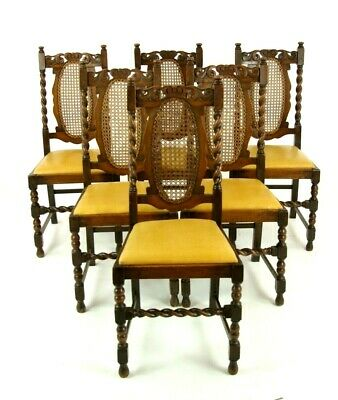 6 Oak Dining Chairs, Barley Twist Chairs, Scotland 1920, Antique Furniture,B1375