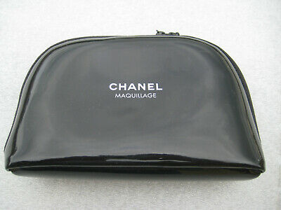 fd3c596cc71db9 Chanel Beaute Maquillage Cosmetic Makeup Bag Black Patent Leather Case