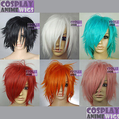 12 inch Heat Resistant All Colors Shaggy Cut Cosplay Wigs with Side Bangs