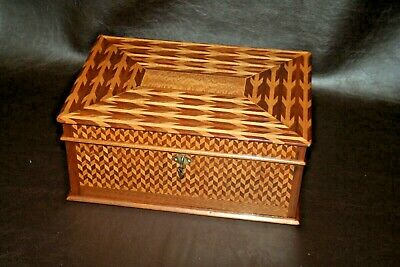"Antique Parquetry Inlaid Wooden Velvet Lined Flip-Lid 13"" Jewelry Box w/ Key"