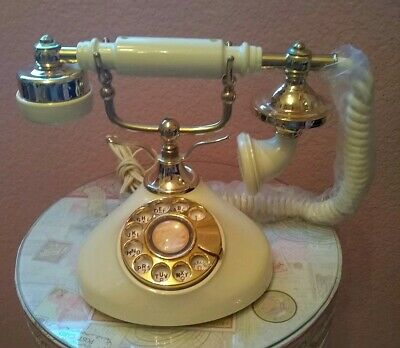 Vintage French Victorian Cream & Gold Hardware Rotary Dial Desk Telephone Decor