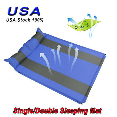 Folding Self-Inflating Air Mattress Sleeping Pad Outdoor Bed Camping Mat Pillow