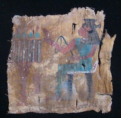 """ANTIQUE EGYPTIAN STUCCO AND COLOR PAINTED SARCOPHAGUS FABRIC  10"""" x 10"""""""