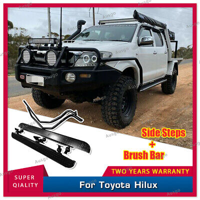 AUS Heavy Duty Steel Side Steps & Brush Bars For Toyota Hilux Dual Cab 04-15