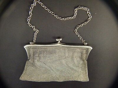 Antique Sterling Silver  Lady's Mesh  Purse English Hallmarked London  C1915