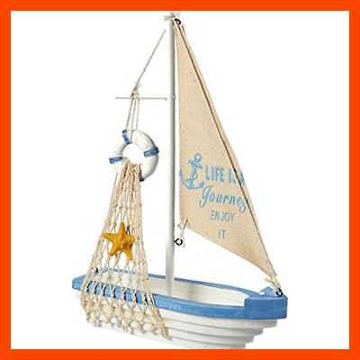 Sailboat Model Decoration Wooden Sailing Boat Home Decor Set Beach Nautical Desi