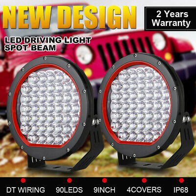Pair 9inch New OSRAM Round LED Driving Lights SPOT Work Headlights Offroad ATV