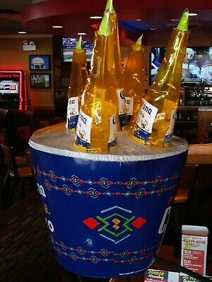 Authentic Corona Extra Inflatable Vinyl Bucket With Beer Bottles Bar Decor NEW
