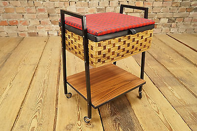 Hard-Working 1970s Mid-century Sewing Table Utensilo Basket Box Rockabilly 6 Antiques