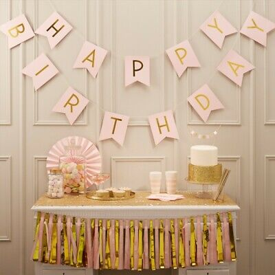 Happy Birthday Bunting Banner Pastel Hanging Letters Party Decoration Garland EK