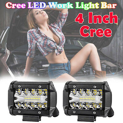 2x 4 inch 200W CREE LED Work Light Bar 3Row Offroad SPOT FLOOD Work Driving Lamp
