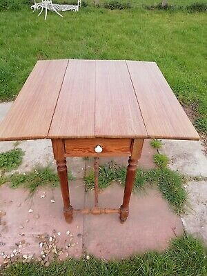 Victorian Pitch Pine Drop Leaf Kitchen Table 2 Drawers Turned Legs & Stretcher