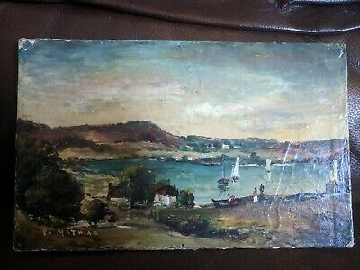 Vintage Antique Original oil on board  painting Signed by Victor Mathias, 1939