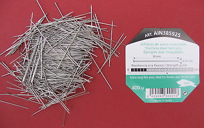 38mm x 0.59mm 400 pins STAINLESS STEEL LACE MAKING/BRIDAL/WEDDING/SATIN PINS