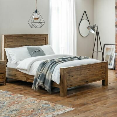 Hoxton Rustic Oak Wooden High Foot End Bed with Size and Mattress Options