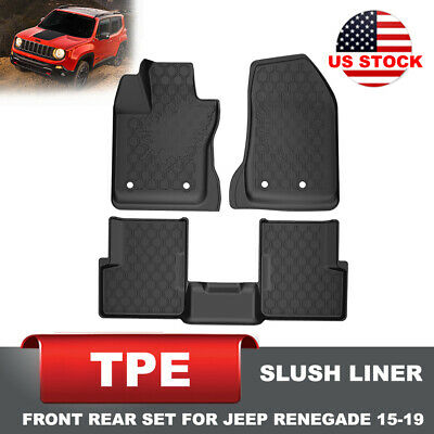 KIWI MASTER Floor Liners TPE Slush Mat 1st Row Rear Mats for 15-19 Jeep Renegade