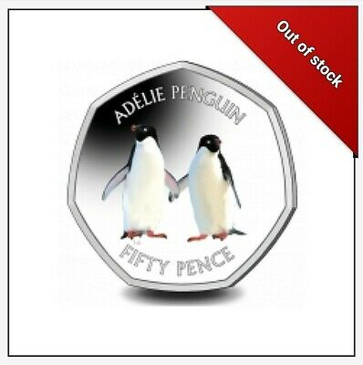 2019 Adelie Penguin 50p Coloured Silver Coin - SOLD OUT AT POBJOY MINT - 4,000.