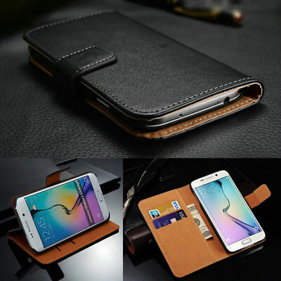 Genuine Leather Wallet Case Book Flip Card Pouch Cover for Samsung Galaxy Mobile