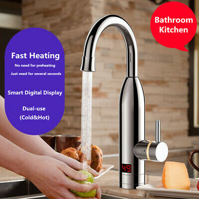Electric Tankless Instant Hot Water Heater Faucet Bathroom Kitchen Heating Tap !