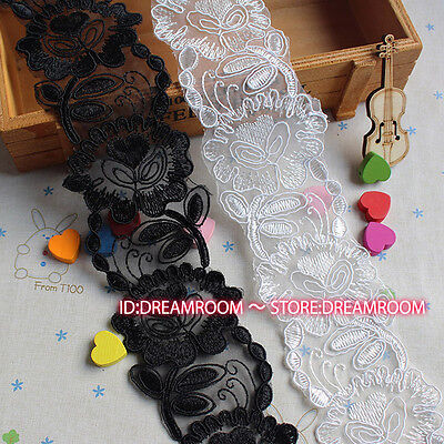 BF147 1yard Delicate embroidered flower net lace trim dress Sewing DIY Craft