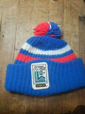 Vintage XIII Olympic Winter Games 1980 Lake Placid Ski Hat Rare Stanley patch