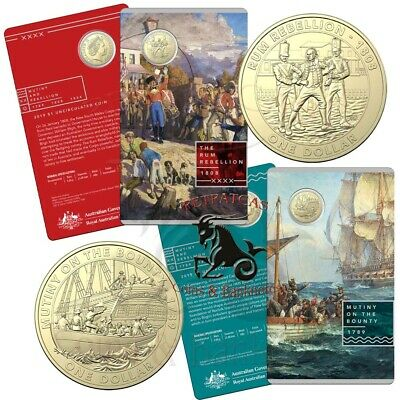 """2019 """"Mutiny on the Bounty"""" Mutiny and Rebellion $1 Unc Coin on Card"""