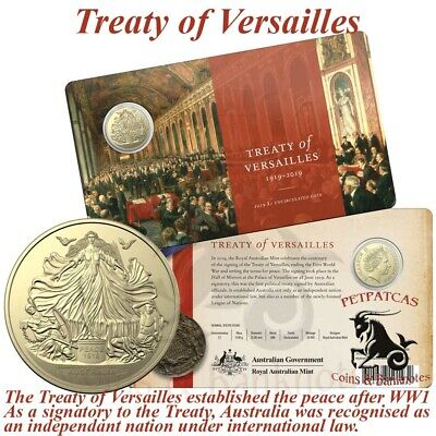 2019 Treaty of Versailles Triumph of Liberty and Justice $1 Unc Coin on Card