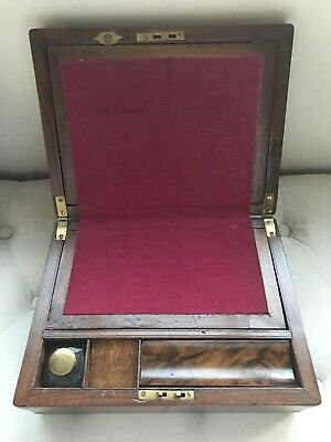 Mid 19th Century Victorian Rectangular Walnut & Brass Writing Slope Box Desk