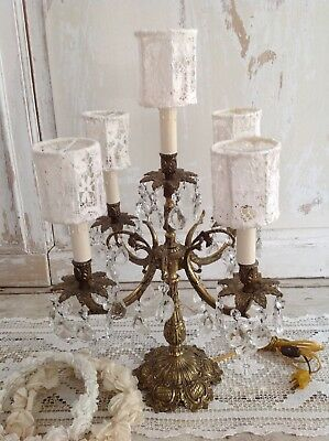 Large Antique Ornate Gold Candelabra Lamp Dripping w/ Crystals