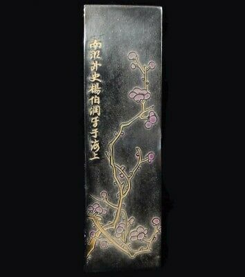 """Antique Chinese Hand Carving Flowers Black Ink Stick """"LangXianShi"""" Mark"""