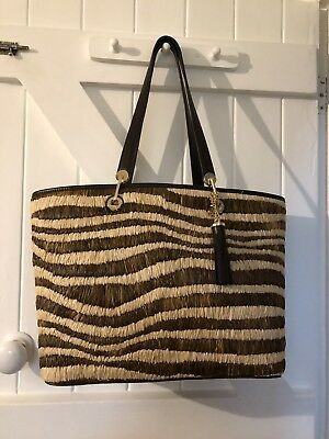 77b5f31c3b8a NEW MICHAEL KORS Straw Rosalie MD East West Tote Four-weave Leather ...