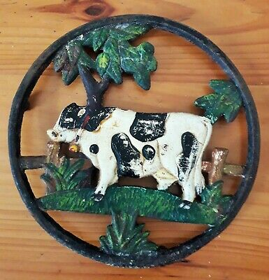Decorative French Cast Iron Trivet/pot Stand - Grazing Cow