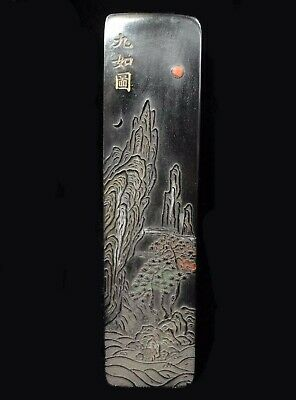 "Antique Chinese Hand Carving Landscape Black Ink Stick ""JiaQing"" Mark"