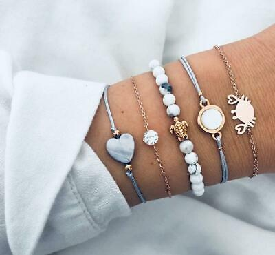 Fashion Women Jewelry Set Rope Natural Stone Crystal Chain Alloy Bracelets 5PC