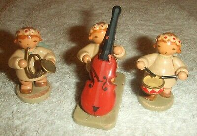 Kunst Weha Angel Musician Figurines - Drum, French Horn & Double Bass.