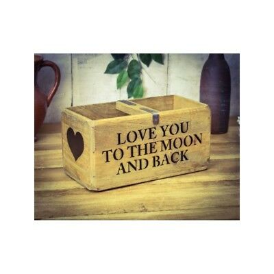B/N Vintage Antique Wooden Box, Crate, Trug, Love You To The Moon And Back Heart