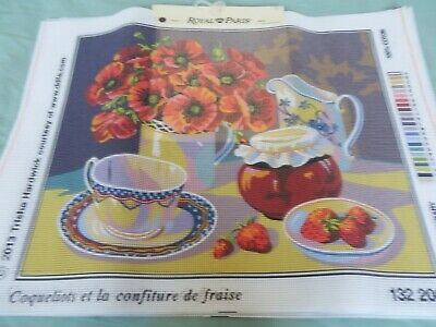 "Royal Paris Tapestry Canvas 'Poppies & Strawberry Jam' 18.5""x 15"" NO THREADS NEW"