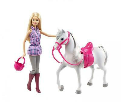 Barbie DHB68 - doll and horse, dolls play set with removable accessories,...