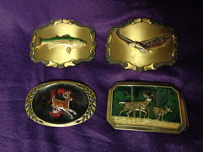 Lot Of 4 Vintage Brass Belt Buckles Raintree Heritage, American Bass, Deer Eagle