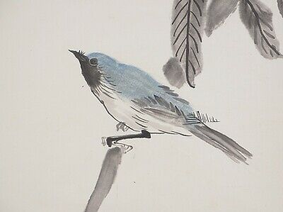 HANGING SCROLL JAPANESE PAINTING JAPAN Bird Chestnut Old PICTURE ANTIQUE d346