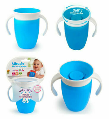 Munchkin Miracle 360 Degree Trainer Cup Blue Easy Clean Spill Proof 207 ml/7 oz