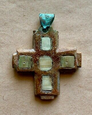 Byzantine Carved Cross, With Inlaid Mother Of Pearl Decoration. Nice Piece!