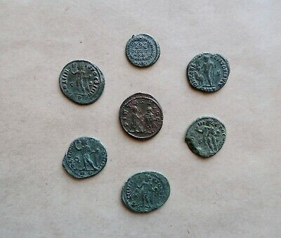 Lot Of 7 (Seven) Late Roman Bronze Follis To Be Catalogued. A Nice Lot!