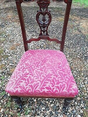 Victorian Mahogany Carved Nursing Chair Castors Sprung Seat Fluted Legs C 1880