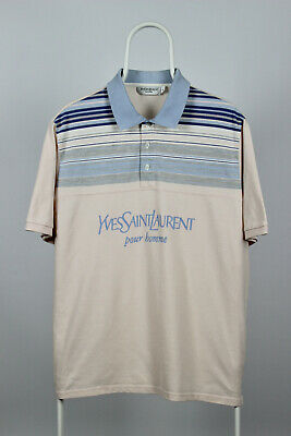 d17a6397034 YVES SAINT LAURENT Men's Polo Size Large YSL Vintage Cotton Blue L ...