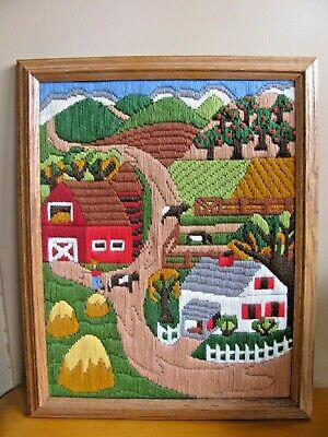"HAND Embroidered FRAMED CREWEL Embroidery Farm House Scene 12"" by 16"" Barnyard"