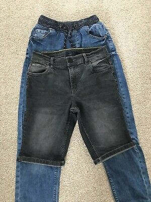 Next Boys Jeans Shorts Bundle 12 Age Years Black Grey Skinny Fit Slim Rib Waist