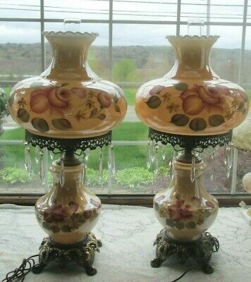 Pr Gwtw Vintage Irridescent Hp Floral 30H W/Prisms Ruffled Shades Lamps Gorgeous